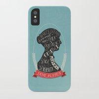 jane austen iPhone & iPod Cases featuring Jane Austen Silhouette Portrait by Bookish Prints