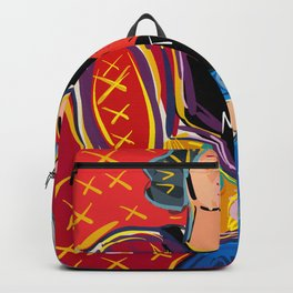 """Portrait of a girl with a shirt """"I Love Matisse"""" Backpack"""