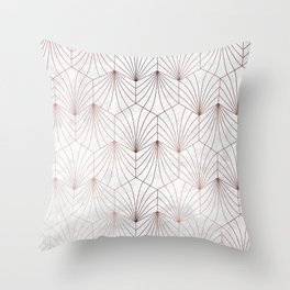 Hexagonal Leaves of Rose Gold on White Marble Throw Pillow