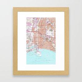 Vintage Map of Long Beach California (1964) Framed Art Print