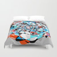 arya Duvet Covers featuring Lines and Curves, twisting into each other by Hinal Arya