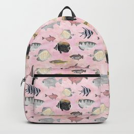 Fish Pattern - Coral Pink Waters Theme Backpack