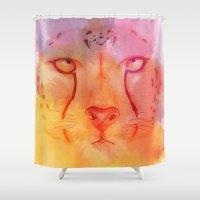 cheetah Shower Curtains featuring Cheetah by HelloDarlingDesign
