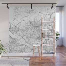 Seoul White Map Wall Mural