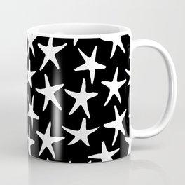 White Stars Black Background Coffee Mug