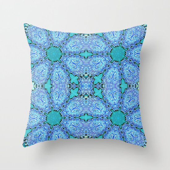 Turquoise Blue Crystal Floral Throw Pillow by 2sweet4words Designs Society6