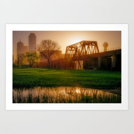 Dallas Golden Morning Light - Trinity Skyline Trail Art Print