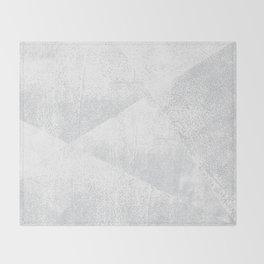 White and Gray Lino Print Texture Geometric Throw Blanket