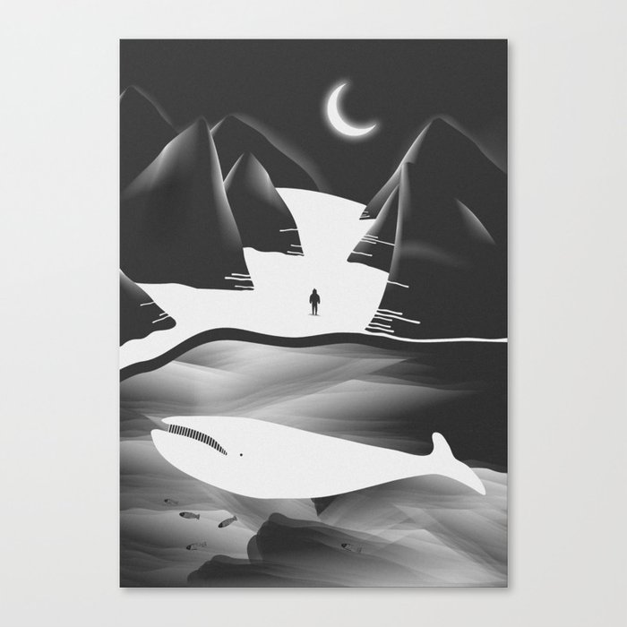 Moon, Boy & The Whale Canvas Print