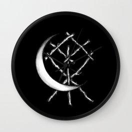 Crescent Moon Rune Binding in Black Wall Clock
