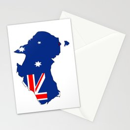 Australia Map with Australian Flag Stationery Cards