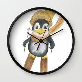 Watercolor painting cartoon penguin skiing Wall Clock