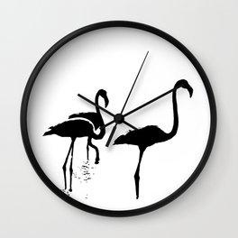 Three Flamingos Black Silhouette Isolated Wall Clock