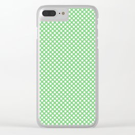Summer Green and White Polka Dots Clear iPhone Case