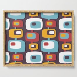 Mid century abstract geometric shapes hand drawn illustration pattern Serving Tray