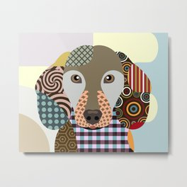 Dachshund Dog Pop Art Cubism Metal Print