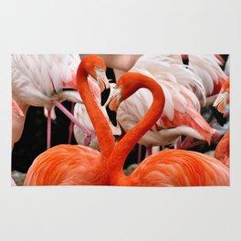 Flamingo Birds making a Heart Shape Rug