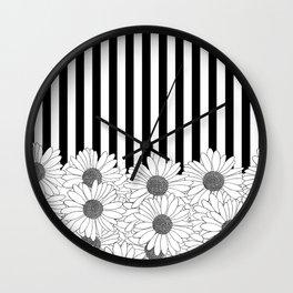 Daisy Stripe Wall Clock