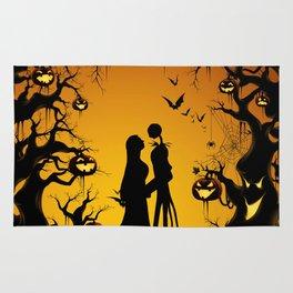 Romantic Halloween Jack & Sally Rug