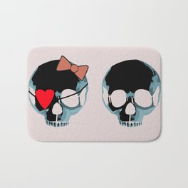 Blue skull with heart and bow Bath Mat