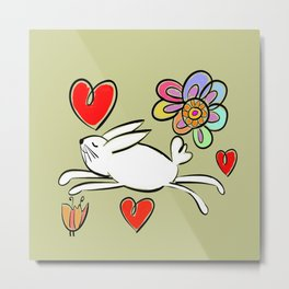 Happy as can be! Bunny Love! Metal Print