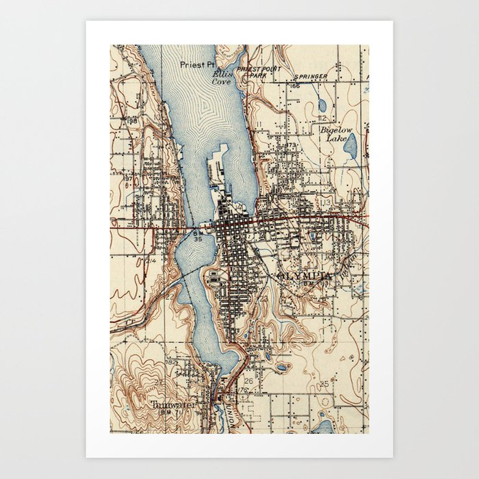 Vintage Map of Olympia Washington (1934) Art Print by bravuramedia ...