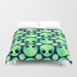 Sad Alien and Daisy Nineties Grunge Pattern Duvet Cover