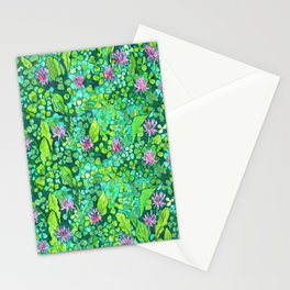 Pink Clover Flowers on Green Field, Floral Pattern Stationery Cards