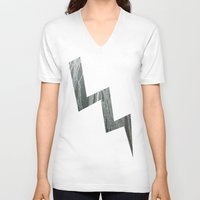 lightning V-neck T-shirts featuring Lightning  by Ethna Gillespie