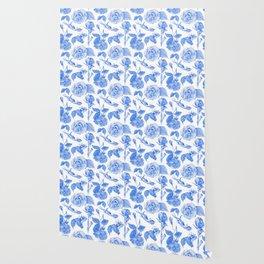 Blue Roses Watercolor Wallpaper