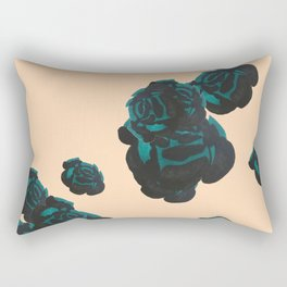 Green and Black Roses on Peach, Greenery Rectangular Pillow