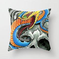 blue viper skull Throw Pillow