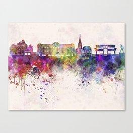 Montreux skyline watercolor background Canvas Print