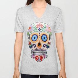 Hand Embroidered Candy Skull Image Unisex V-Neck