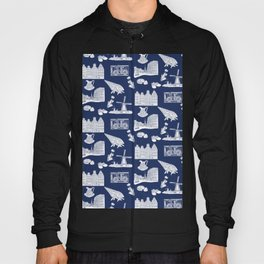 Netherlands Toille de Jouy pattern in Delft Blue background Hoody