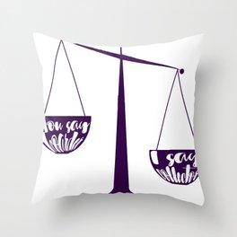 Semantics: Hoarder VS Collector Throw Pillow
