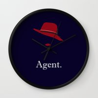 agent carter Wall Clocks featuring Agent Carter by Morgan Lianne