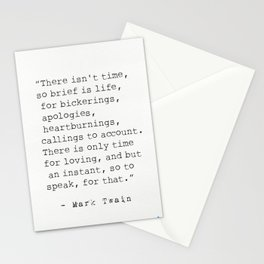 """There isn't time..."" Mark Twain quote Stationery Cards"