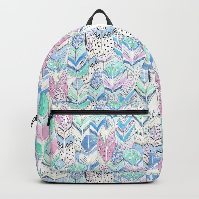 Watercolor . The feather of a bird . Backpack