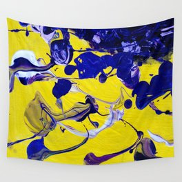 Ultra Violet Blue Yellow Abstract Paint Wall Tapestry