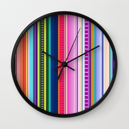 Mexican Serape Inspired Colorful Stripe Summer Fabric Wall Clock