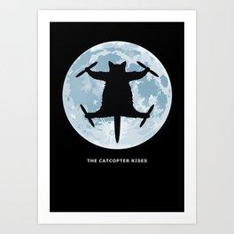 THE CATCOPTER - Humor | Meme | Cat | Internet | Funny | Animal | Bizzarre | Moon  Art Print