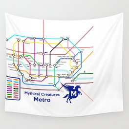 Mythical Creatures Subway Map Wall Tapestry
