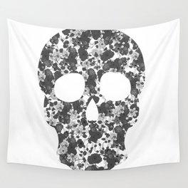 Black and White, Flower Skull Wall Tapestry
