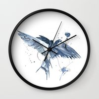 swallow Wall Clocks featuring Swallow by bethbile