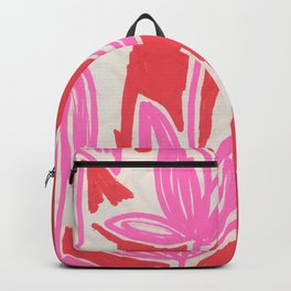 Red and Pink Sketchbook Botanical Backpack