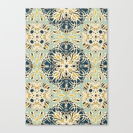 Protea Pattern in Deep Teal, Cream, Sage Green & Yellow Ochre  Canvas Print