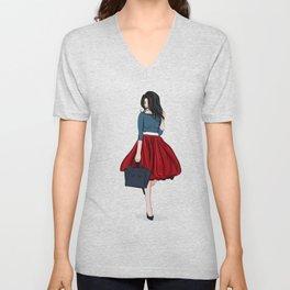Romantic look, girl in red skirt Unisex V-Neck