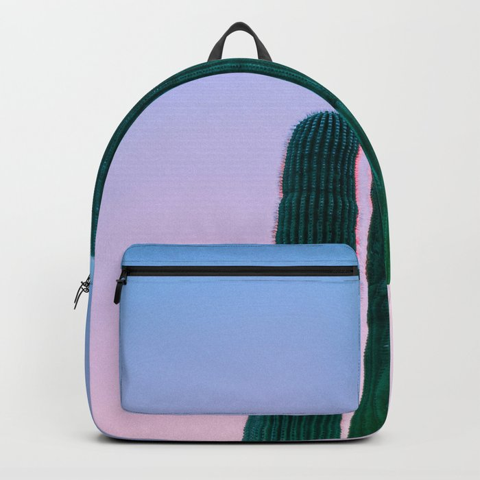 Succulent Cactus Bright Green Purple Sky Colorful Candy Hues Backpack