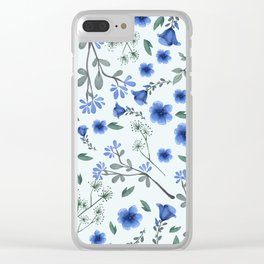 Blue Floral Print Clear iPhone Case